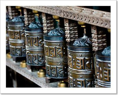 Tibetan Praying Wheels Art Print Home Decor Wall Art Poster - C