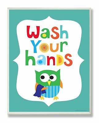 The Kids Room by Stupell Wash Your Hands On Blue Background Rectangle Wall