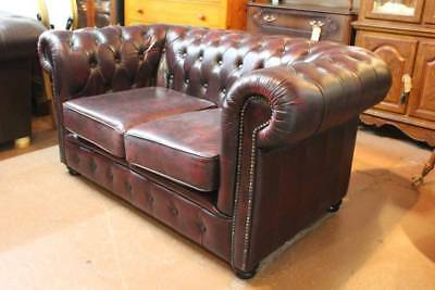 A 2 Seater Chesterfield Sofa 100% Leather -  Lounge - Couch