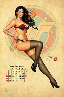 DC Comics Sexy WONDER WOMAN Calendar Pin-Up Girl Signed Art Print 12x18