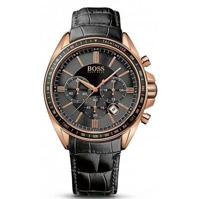 New Hugo Boss Hb1513092 Rose Gold Leather Strap Driver Sports Men's Watch Uk