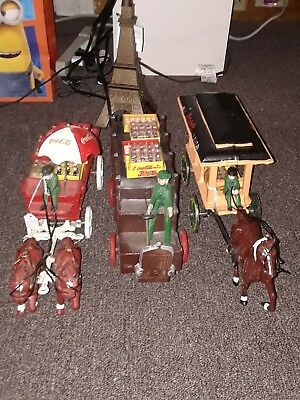 vintage coca-cola collectibles cast iron 2 horse and drawn wagon, 1 1900s truck!
