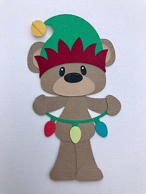 Christmas bear with lights paper piecing