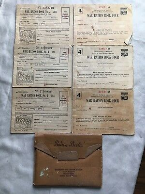 6 Vintage WW2 War Ration Books 3-4 Historical  Memoribilla with Stamps Holders
