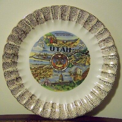 Utah Souvenir Plate Vintage Great Salt Lake Bryce Canyon Mormon Battalion