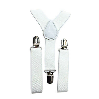 5X(Kids Boys Girls Y-Back Suspender Elastic Adjustable C-On Braces White D5E1