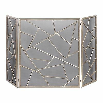 modern geometric abstract fireplace fire screen antiqued silver iron