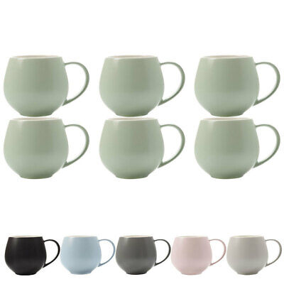 6x Maxwell & Williams Tint Porcelain Snug Mug/Cup 450ml/Tea/Coffee/Drink/Soup
