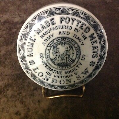"Antique Porcelain Pot Lid ""Potted Meats"" ""London SW"""
