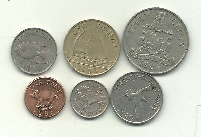 Very  Lot 6 Bermuda 1970-1991 Range- 1 Cent To One Dollar-Jul354