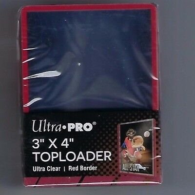 Ultra Pro Red, Black,Blue,White,Green Border 3 x 4 Top Loads 1 Pack of 25 U Pic