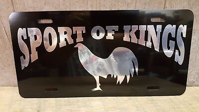 Gamefowl Gamecock Collectible SPORT OF KINGS License Plate Tag Chrome On Black