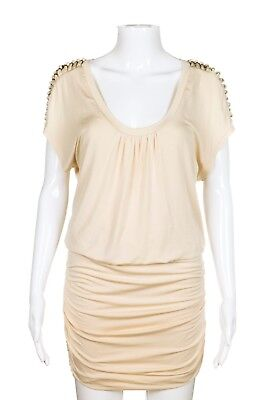 NWT AKIKO Dress Small Creme Open Shoulder Ruched Studded Shirt Short Sleeve Mini