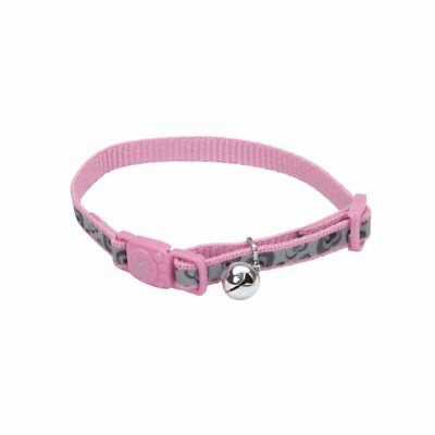"Coastal Cat Pink Paw Reflective Lazer Brite Bell 8-12"" Collar. Free Ship To Usa"