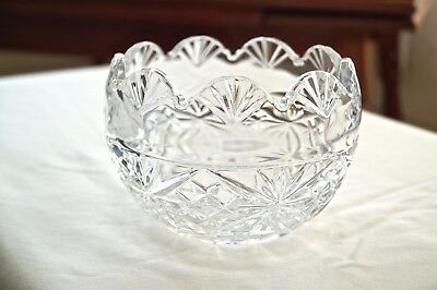 Marquis by Waterford Regal Crystal Fan & Wedge Cut Scalloped Bowl - Used
