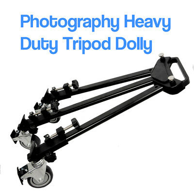 "34"" Photography Tripod Dolly for Studio Camera Photo and Video w/ Folding Wheels"
