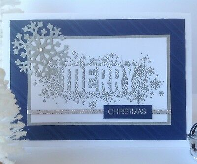 Handmade Christmas card; Shining 'Merry', navy blue.