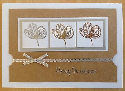 Handmade Christmas card;  - metallic leaves.