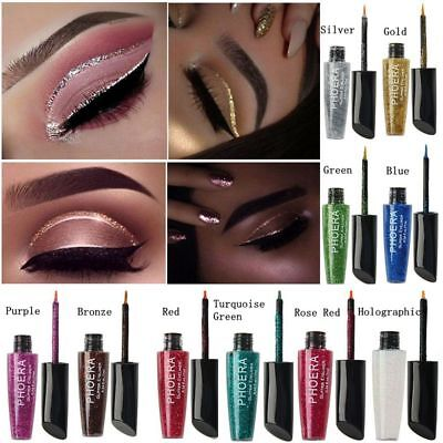 Waterproof Shimmer Eyeshadow Glitter Liquid Eyeliner Metallic 10-Color Cosmetic