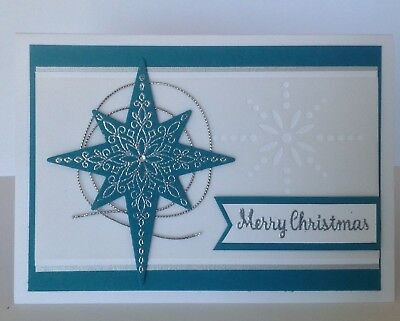 Handmade Christmas card; Soft star - indigo blue.