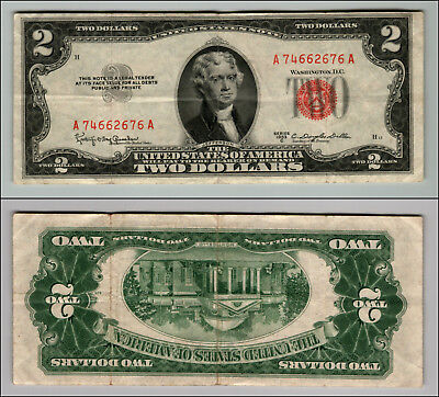 1953C $2 Dollar Bill Old Us Note Legal Tender Paper Money Currency Red Seal P154