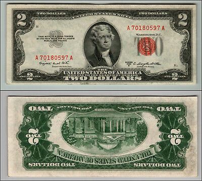 1953B $2 Dollar Bill  Us Note Legal Tender Paper Money Currency Red Seal P769