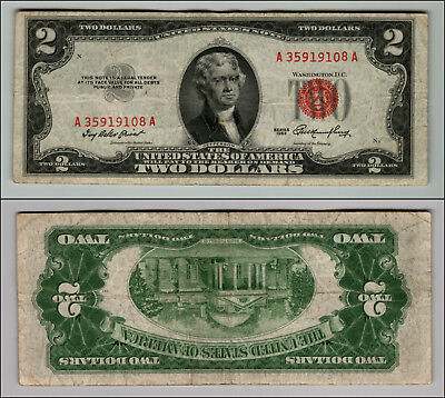 1953 $2 Dollar Bill Old Us Note Legal Tender Paper Money Currency Red Seal P673