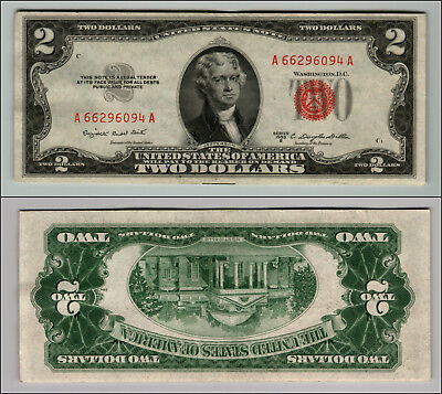 1953B $2 Dollar Bill Old Us Note Legal Tender Paper Money Currency Red Seal P609