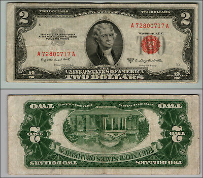 1953B $2 Dollar Bill Old Us Note Legal Tender Paper Money Currency Red Seal P65