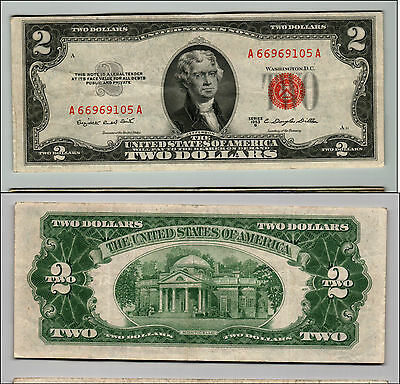 1953b $2 DOLLAR BILL OLD US NOTE LEGAL TENDER PAPER MONEY CURRENCY RED SEAL Q631