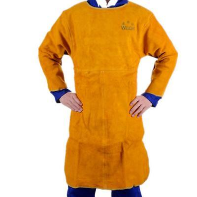 Welder Apron Welding Protect Apparel Cowhide Leather Fire Resistant Yellow
