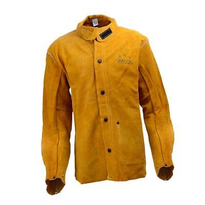 Yellow Protective Welding Coat Cowhide Leather Welders Jacket Heavy Duty XL