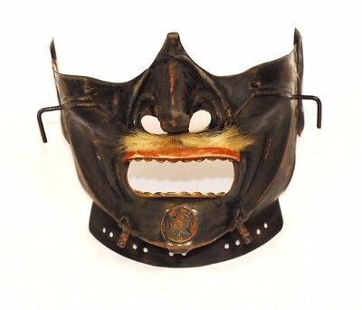 Vintage Menpo Japanese Iron Face Mask Armor from Japan 739