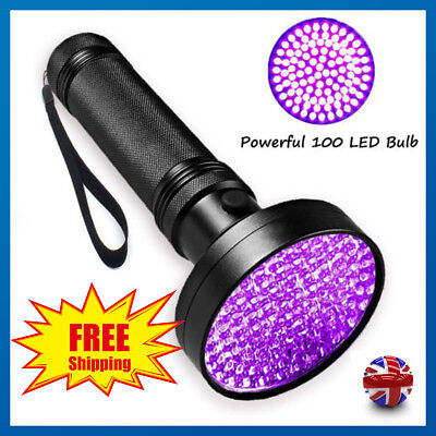 UV 100 LED Blacklight Ultra Violet Flashlight Pet Urine Stain Detector Scorpion