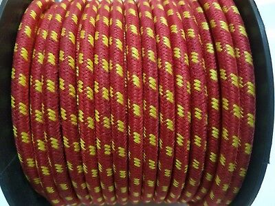 7mm Copper Woven BRAIDED CLOTH Red with Yellow stripes SPARK PLUG WIRE DIY FOOT