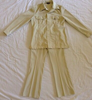 Vintage 70's 2 Pc LEE Polyester Leisure Suit HIPSTER MensL Large Taupe Beige USA