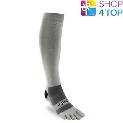 Injinji Compression Ex-Celerator 2.0 Toe Socks Gray Over The Calf Performance