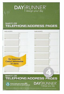 Day Runner Undated Planner Telephone and Address Refill 5.5 x 8.5 Inches 011-230