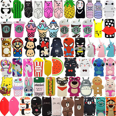For iPhone SE 5 5s 5c Hot 3D Cute Cartoon Soft Silicone Phone Case Back Cover