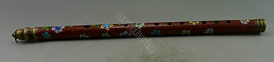 Collectible Decorated Old Handwork Cloisonne Carved Flower Usable Flute