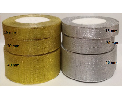 3 meter of silver gold metallic luster ribbon for wedding, card making