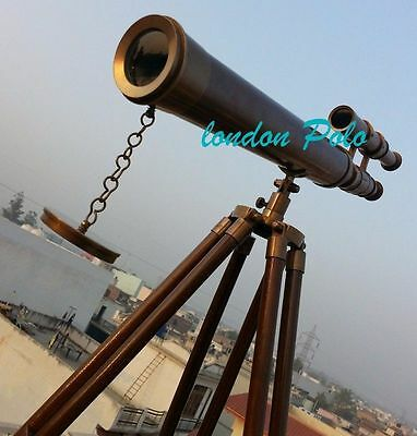 US-Navy-Marine-Nautical-Vintage-Brass-Telescope-with-Wooden stand