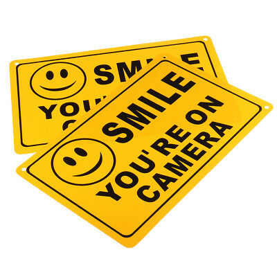 2PC SMILE YOU'RE ON CAMERA Yellow Business Security Sign CCTV Video Surveillance