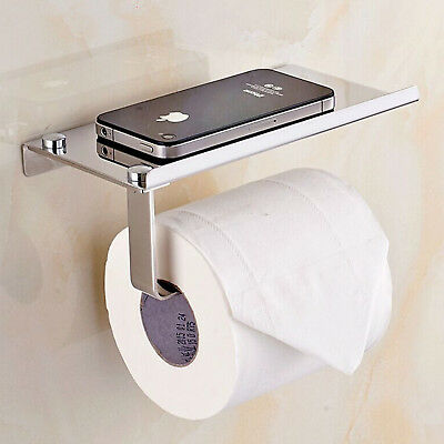 New Wall Mounted Bathroom Toilet Paper Holder Rack Tissue Roll Stainless Steel