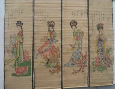 Chinese Collectable old scroll painting old four beautiful woman