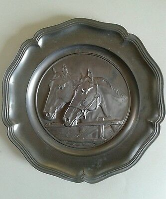 Horse Pewter Plate - Made By Zinn Quist West Germany