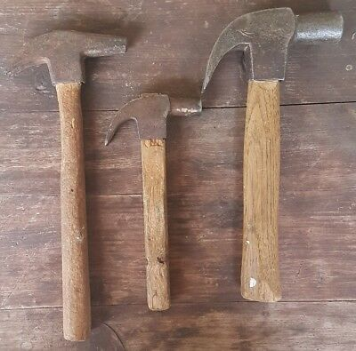 Vintage Hammers x 3 Collectable Woodwork Carpentry Lot Tools
