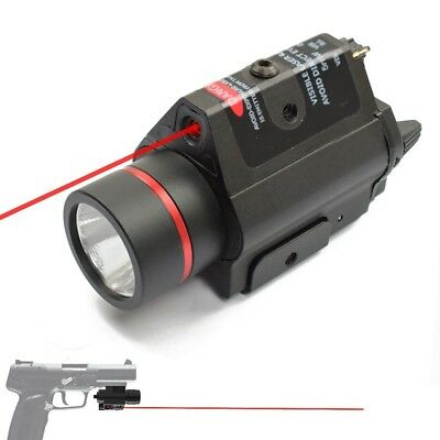 2 in 1 Tactical Red Laser and Flashlight Combo w/ Compact Rail Mount for Handgun