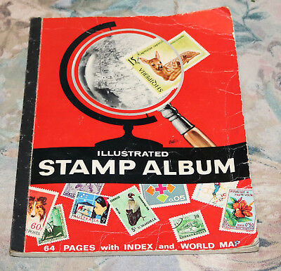 Vintage Stamp Album With Over 200 Used Hinged Stamps Aus And World