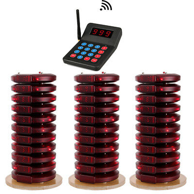 Restaurant/Church Wireless Paging Queuing System Transmitter 30Pcs Coaster Pager